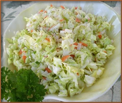 Kfc like Coleslaw Recipe Ingredients: 1/4 cup diced carrot 8 cups finely diced cabbage (about 1 head) 1/3 cup granulated sugar 2 tablespoons minced onions 1/8 teaspoon pepper 1/2 teaspoon salt 1/2 ...