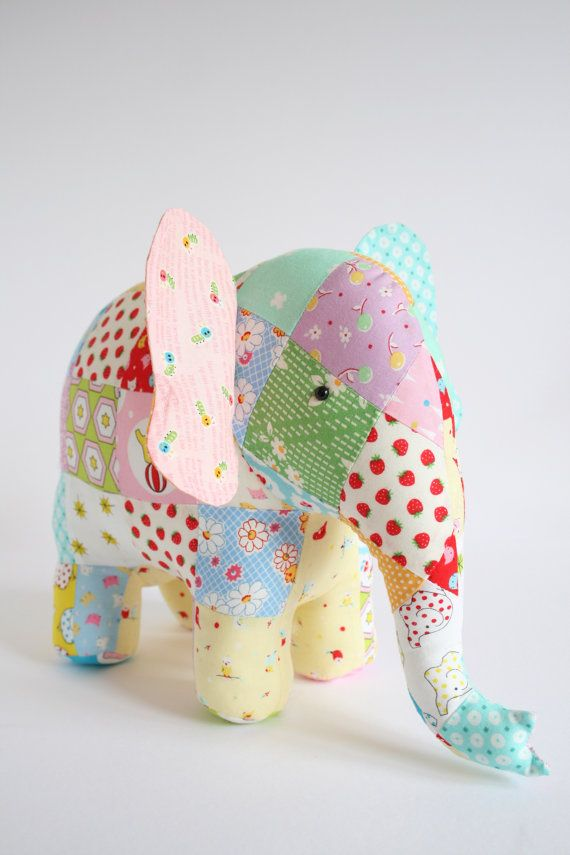 Trunk Show:  elephant pattern, patchwork elephant, elephant plush, elephant softie