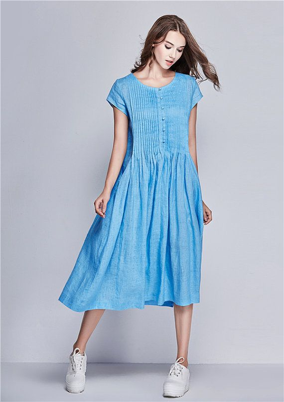 flared linen dress in blue stunning cocktail dress & day dress ! it is very popular in our boutique!! Highly recommend~! (1) ❤ 100% Linen Guarantee. We choose best linen that wont wrinkle or fade. No Cheap Linen Blend! (2) ❤ Fast Shipment. 1-3 days to ship for most orders. (3) ❤ Handmade work!  【Characteristic】 1. luxurious handmade pleats on the top (front and back) 2. extra large special pockets on both side. 3. romantic sky blue color 4. flared bottom.very flattering when you walk 5…