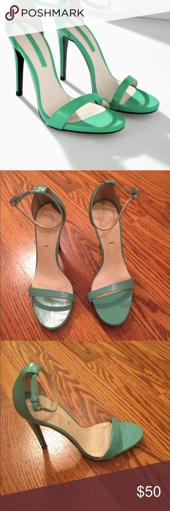 ZARA Women Green Sandals Green t strap heeled sandals. Size 38  Condition: Used Zara Shoes Sandals
