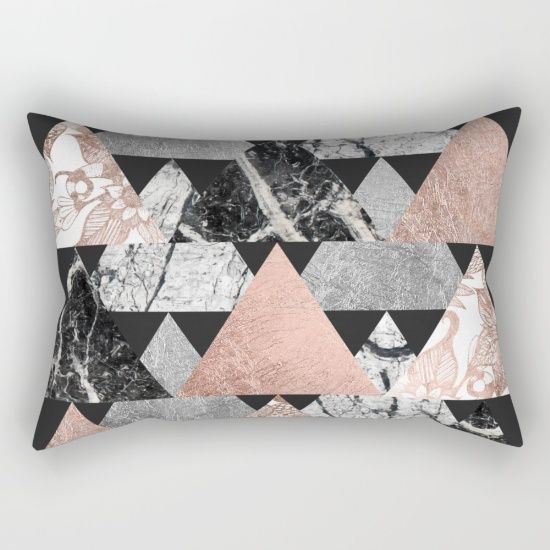 Buy Marble Rose Gold Silver and Floral Geo Triangles Rectangular Pillow by…