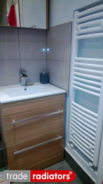 Judith Harling's towel rail (White Curved 1200x400) from Trade Radiators