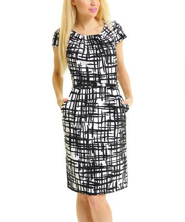 Another great find on #zulily! Black & White Belted Shift Dress #zulilyfinds