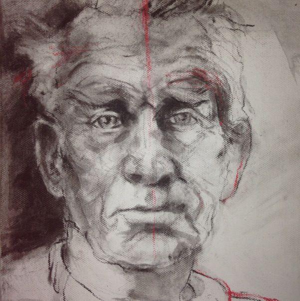 10 x 10cm charcoal, conte on canvas.    Linda Rademan