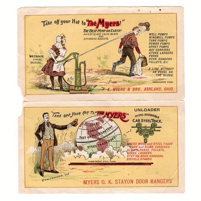 Antique F.E. Myers Pump Advertising Brochure Stayon Door Hangers Ashland Ohio