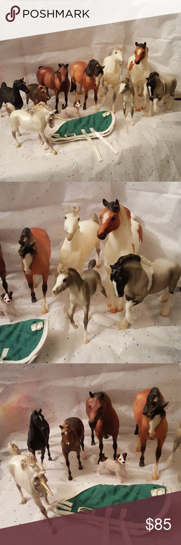 BREYER Horse and Unicorn Bundle VINTAGE BREYER Horse and Unicorn Bundle. This bundle comes with a total of 8 horses, 1 unicorn, 1 dog and a horse cover up blanket. 8 horses include a white/gray mom and foal (pic 5), a gray Clydesdale (I think that's what their called - pic 4), a black show horse (pic 4) and the rest I'm unsure of what type of horse it is. Unicorn is in pic 7. Pic 8 is just to show proof that they are the Breyer brand. All of these were bought 10+ years ago!! Really only…