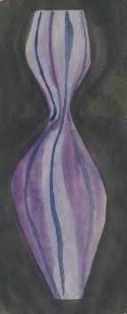 Zdenka Strobachova, 1959, desing for glass vase, watercolor on paper, UMPRUM Prague, Czechoslovakia