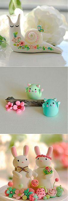 Очень милые игрушки из полимерной глины.