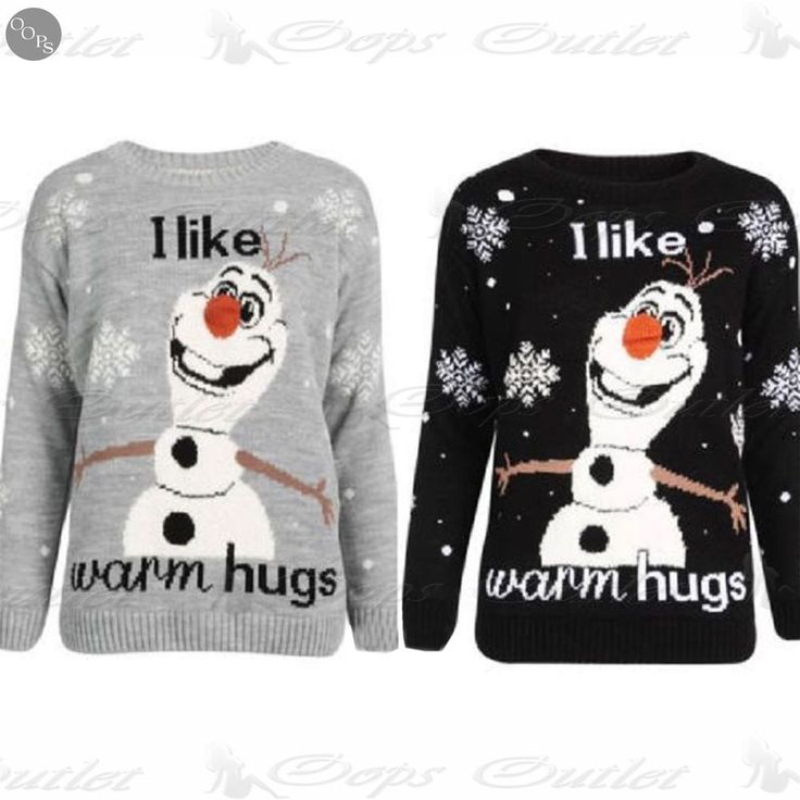 Womens Santa Snowflakes Ladies Christmas Fur Olaf Frozen I Like Warm Hugs Jumper #BeJealous