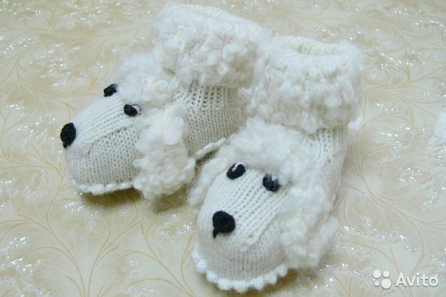 Новые вязаные пинетки для новорождённых Собачки— фотография №2