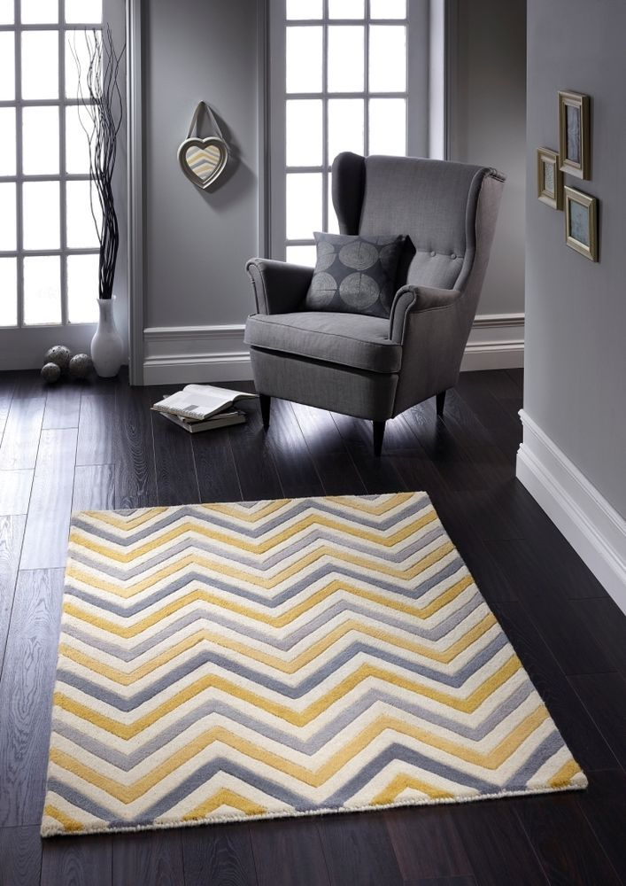 Origin Contemporary Wool Cabone Yellow Zig Zag Chevron Rug 4 Sizes Also In Grey