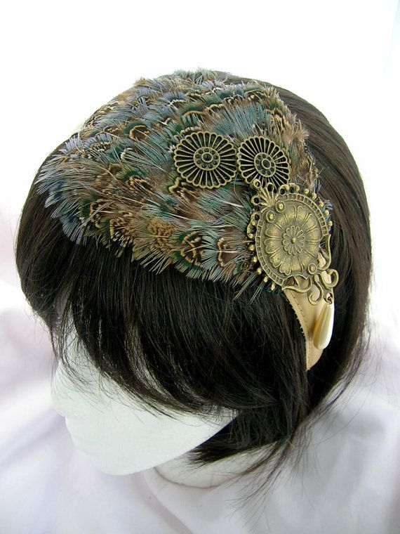 Steampunk peacock feather and pearl fascinator
