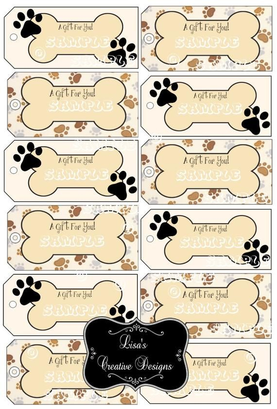 These Printable Paw Print Dog Bone Gift Tags Are Perfect For Dog
