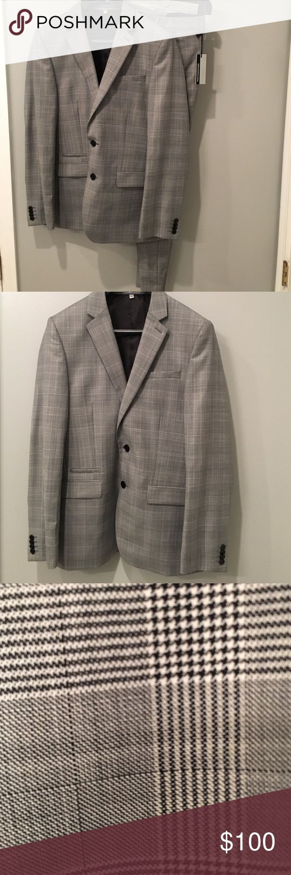 Express Men's suit NWT pants and NWOT jacket.                                  Houndstooth print suit.  Express Photographer fit.  Pants are 29x30 slim fit photographer pant.  Jacket is 38s.  Will separate pieces if sizes don't match up for you. Express Suits & Blazers Suits