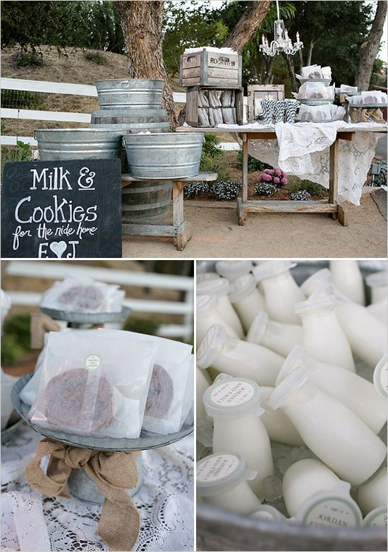 Milk & Cookies Dessert Bar. Pssst @Chantelle Wilson - you have to check out Rustic Wedding Chic's boards. ... SO. MANY. http://pinterest.com/rusticwedchic/