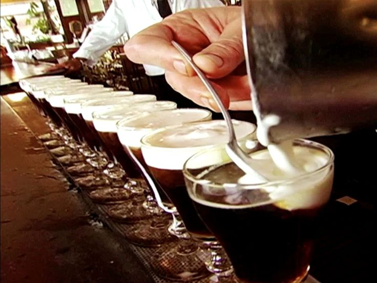 Irish Coffee from The Buena Vista Cafe: San Francisco  : Pouring nearly 2,000 Irish Coffees each day, The Buena Vista Cafe reigns supreme as master of the cream-capped glass. From the tulip-shaped goblet to the cane-sugar cubes, each element of this time-honored recipe has been tested to achieve the perfect balance of fresh-brewed coffee, Irish whiskey and lightly whipped cream. If you think you hate coffee, you've clearly never had one of these.