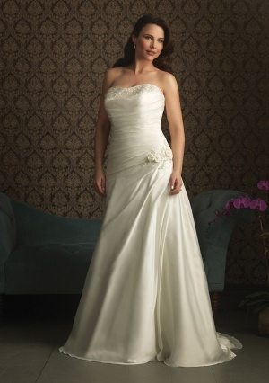 A-line Liebsten Kapelle Zug in Satin Plus Size Brautkleid   – Weddings