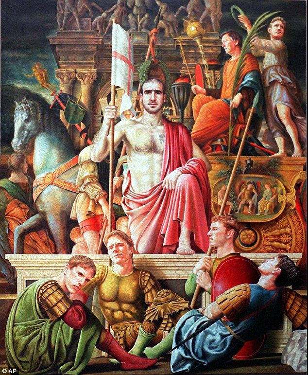 Michael Browne painted this tribute to Eric Cantona based on Italian Renaissance artist Piero della Francesca's painting    Read more: http://www.dailymail.co.uk/sport/football/article-2263495/Manchester-United-painting-legends-Wayne-Rooney-Nemanja-Vidic-Sir-Alex-Ferguson.html#ixzz2IFkTqD00