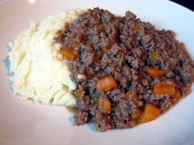 Mince and Tatties - traditional scottish meal. My Grandma made this for me all the time. My fav! I grew up on this stuff! My Mom is making it for me tonight :)