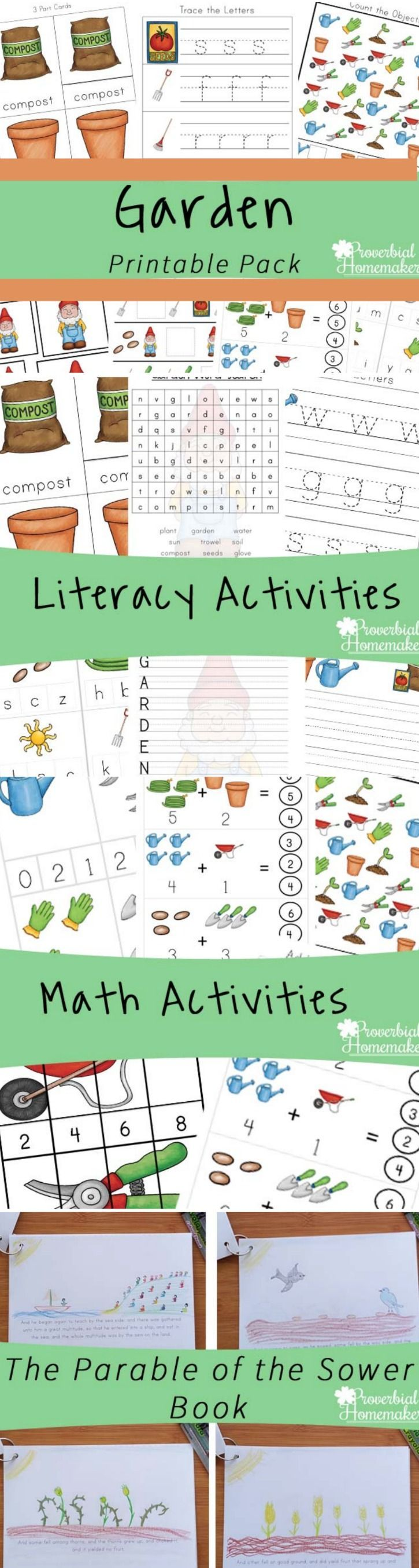 Fun learning activities while gardening with your kids! Download this garden printable pack for ages 2-9! via @TaunaM