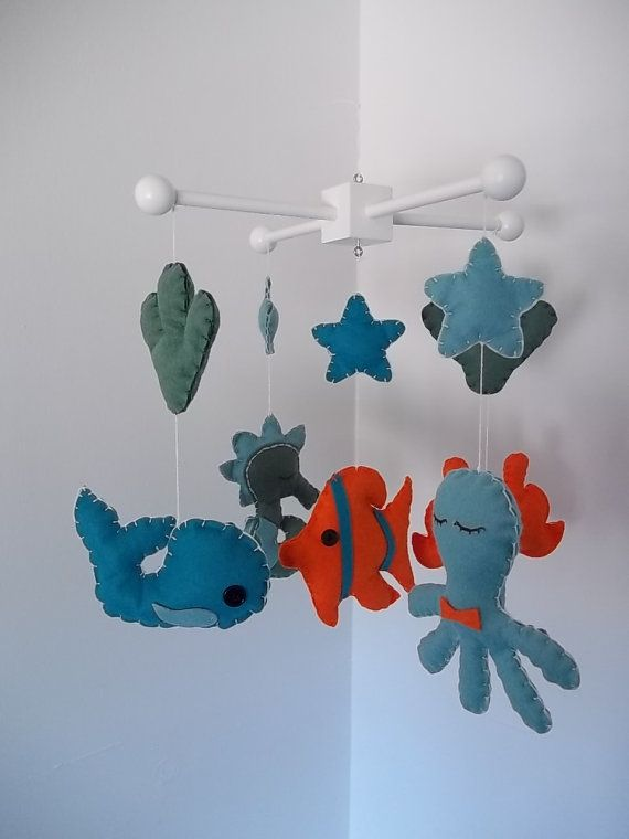 Baby Mobile- Ocean Theme- Sea Animals-  Under the Sea- Nursery Decor- Made to Order (You Can Choose Your Colors)