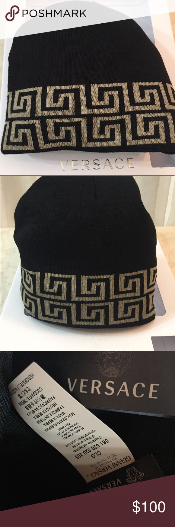 🆕 Versace Logos De Luxe Beanie Authentic Versace Beanie, black and beige 100% wool, new condition with tags. Versace Accessories Hats