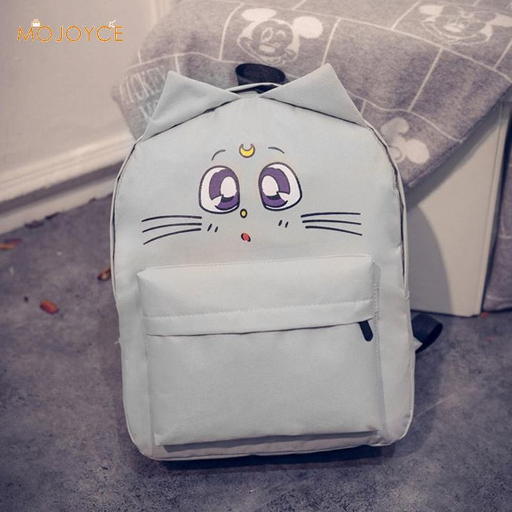Cat Backpack For Women Cute Cat Printing Backpacks for Teenage Girl Travel Back Pack Sailor Moon Canvas Backpack Mochila Escolar