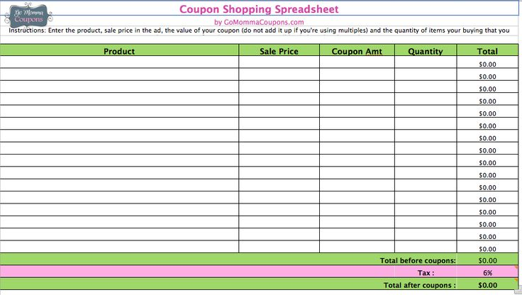 Coupon comparison spreadsheet
