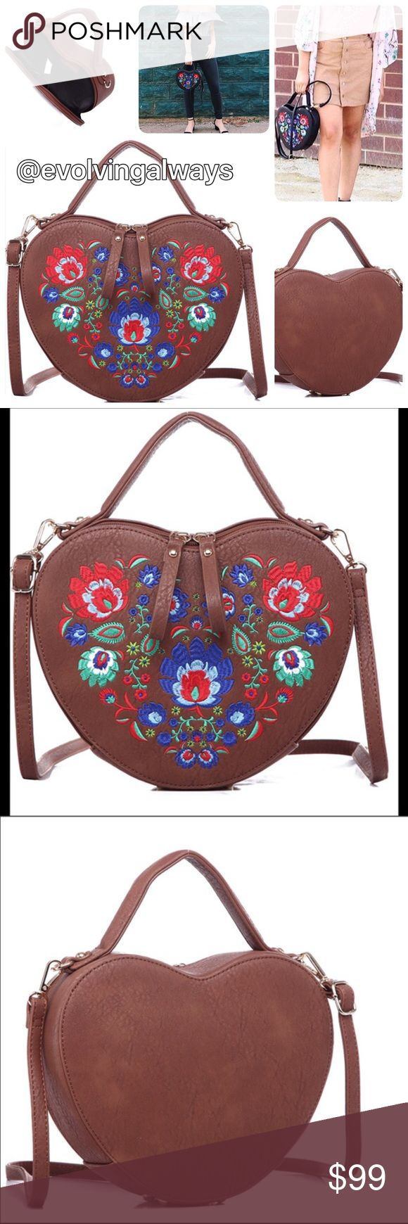 🆕Heart Shaped Embroidered Bag Vegan Leather See last pictures for full details of the bag. Materials PU and cloth interior. This listing is for the brown bag only. Reasonable offers will be accepted. Pink Haley Bags