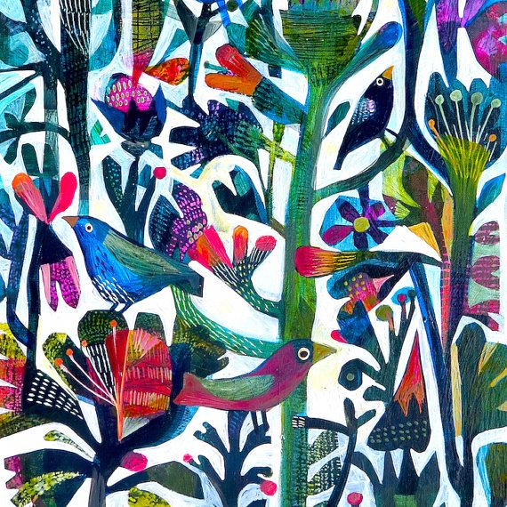 Birds A set of four new Este MacLeod square by EsteMacLeodDesigns