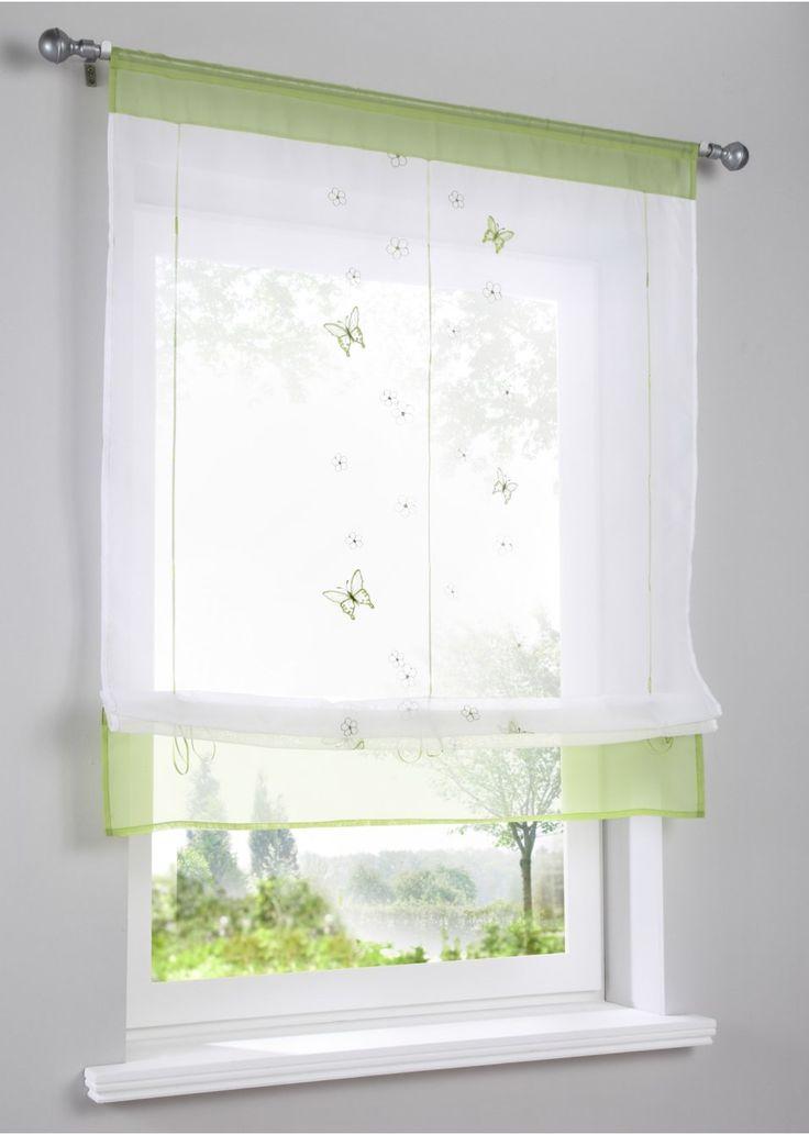 """Jetzt anschauen: Das Bändchenrollo """"Keike"""" ist eine schöne Dekoration für Ihr Fenster. Ob in Kombination mit vorhandenen Gardinen oder solo, das Bändchenrollo wirkt immer. Aus transparentem Voile-Gewebe mit hübscher Stickerei verziert. Mit den eingenähten Bändern einfach auf die gewünschte Höhe ziehen und fixieren und schon ist Ihre neue Fensterdekoration fertig. Holen Sie sich den Frühling an Ihr Fenster mit dem Bändchenrollo """"Keike""""."""