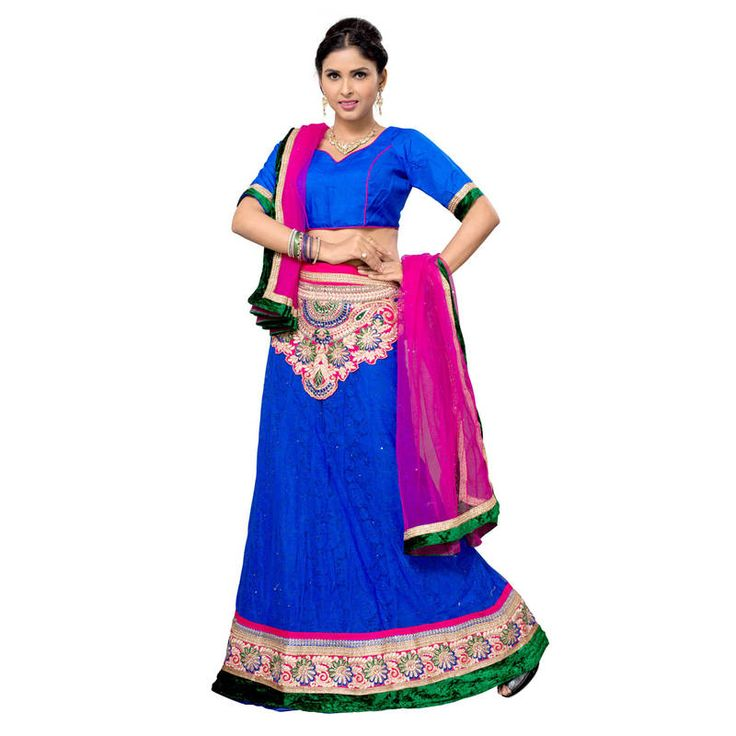 Online Blue Lehenga available at Mirraw.