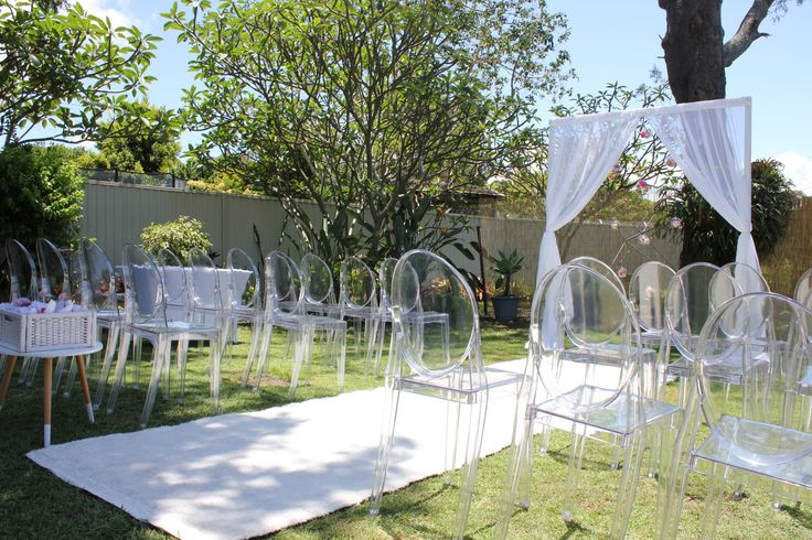Gorgeous Ghost Chair Hire for Brisbane Weddings by Brisbane Wedding Decorators. http://www.brisbaneweddingdecorators.com.au/package/ghost-chair-hire/