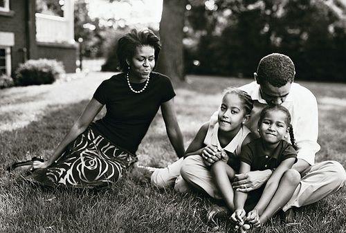 President Barack Obama, Michelle Obama, Malia Ann Obama, & Natasha Obama photographed by Annie Leibovitz.