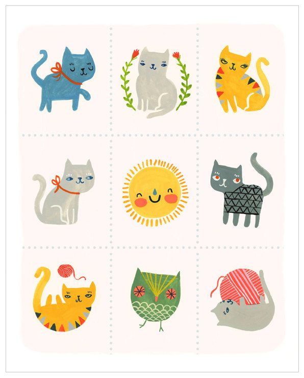 Adorable kitten illustration of kittens. Sassy Cats by Sarah Walsh. via Etsy.