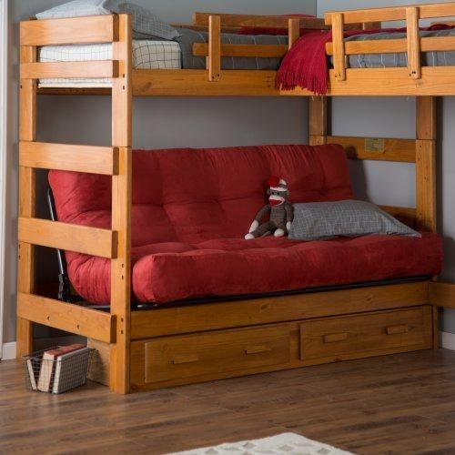 Woodcrest Heartland Futon Bunk Bed with Extra Loft - Honey Pine - Bunk Beds & Loft Beds at Hayneedle
