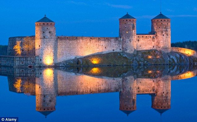 Olavinlinna Castle, in the town of Savonlinna, is a dramatic 15th century structure in Finland. Read more: http://www.dailymail.co.uk/travel/article-2016061/Finland-summer-Scenery-seafood-spas-saunas-north-European-nirvana.html#ixzz3Gu66WJXO  Follow us: @MailOnline on Twitter | DailyMail on Facebook
