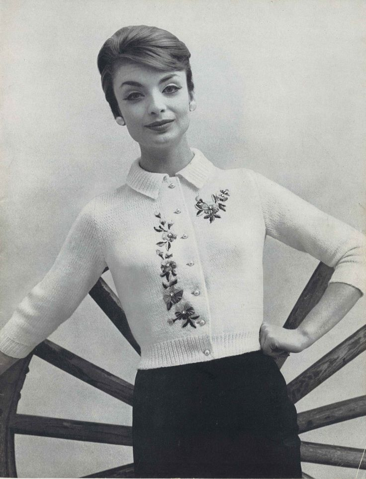 Secret Garden • 1950s Knitting Collared Cardigan Sweater Top Flowers Flower Patterns • 50s Vintage Pattern • Retro Women's Knit Digital PDF by TheStarShop on Etsy