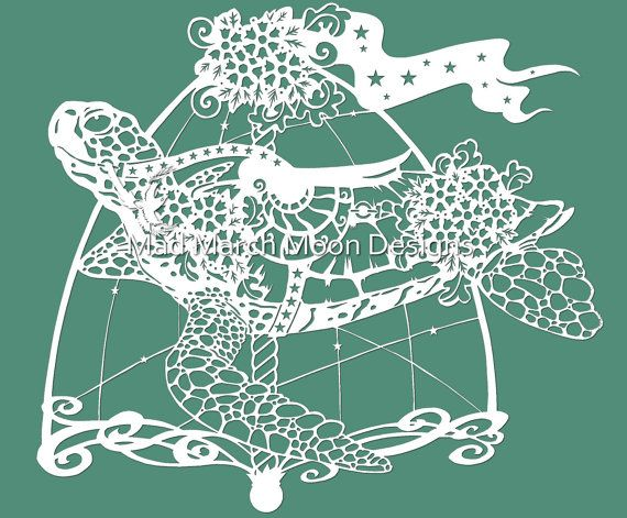 paper cut out art templates - papercut template rollo the carousel turtle commercial use