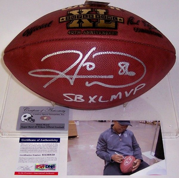 Hines Ward Autographed Hand Signed Super Bowl XL Official NFL Football - PSA/DNA