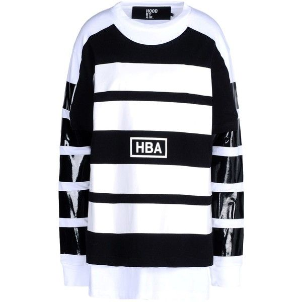 Hba  Hood By Air Long Sleeve T-Shirt ($145) ❤ liked on Polyvore featuring tops, t-shirts, shirts, zzz winter storage, black, long sleeve cotton t shirts, long sleeve cotton shirts, cotton logo t shirts, long sleeve jersey shirt and two tone t shirts