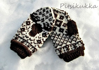 Knitted moose mittens