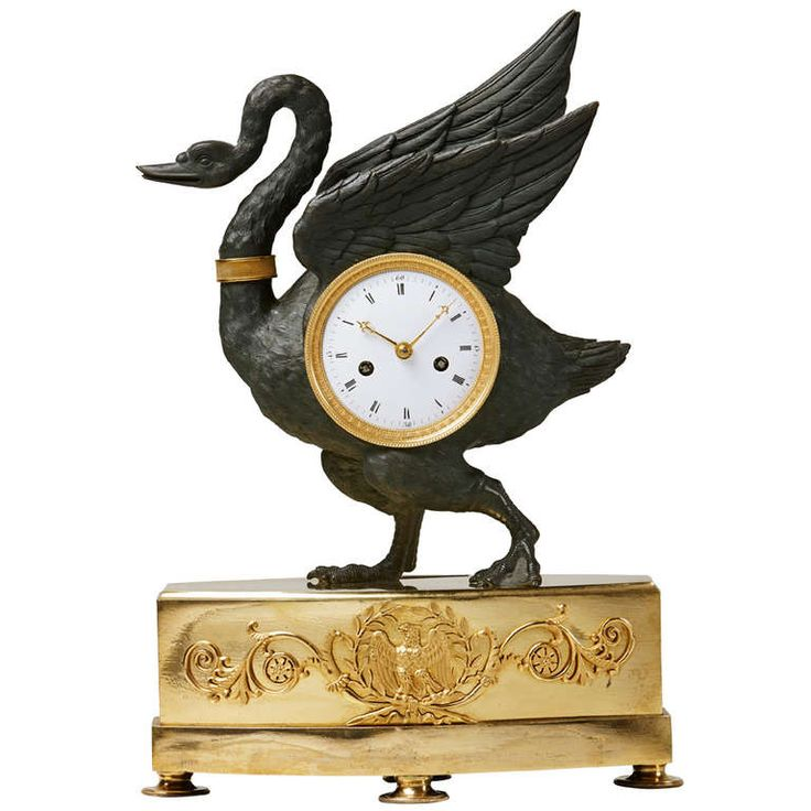 Rare And Unusual Early 19th c. Empire Ormolu & Patinated Bronze Swan Table Clock | From a unique collection of antique and modern clocks at http://www.1stdibs.com/furniture/more-furniture-collectibles/clocks/