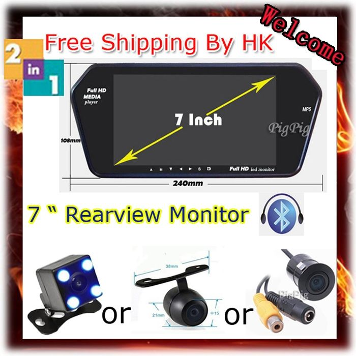 59.14$  Watch now - http://ai2er.worlditems.win/all/product.php?id=32265015980 - Free Shipping HK Full HD 7'' TFT LCD 1024*600 Car Rear View Mirror Monitor With Bluetooth MP5 + Car Parking Rear View Camera