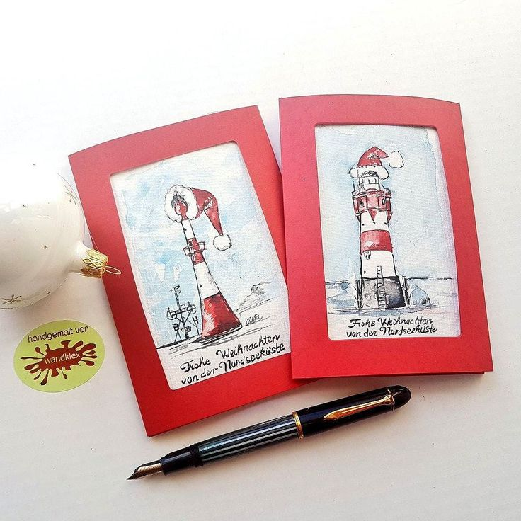 And so they looked finished:These hand painted maritime holiday cards are a custom order and went out to an amiable customer living close to the North Sea in North Germany. These lighthouses are located at Bremerhaven and Roter Sand near the islands Helgoland and Wangerooge. . I was painting with schmincke Horadam water color on @hahnemuehle_global Britannia 300g rough paper painting and product photo  @wandklex Kunstatelier.  #wandklex  #aquarell #hahnemühle #Lighthouse #lightfire…