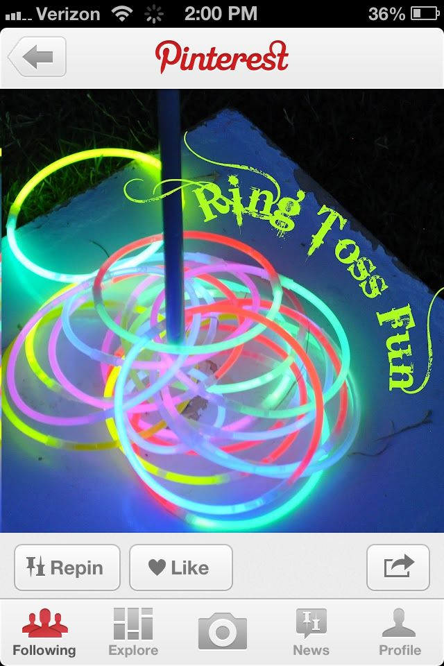 what you need: glow stiks and a stick. put the stick in the ground then start throuing and have fun.