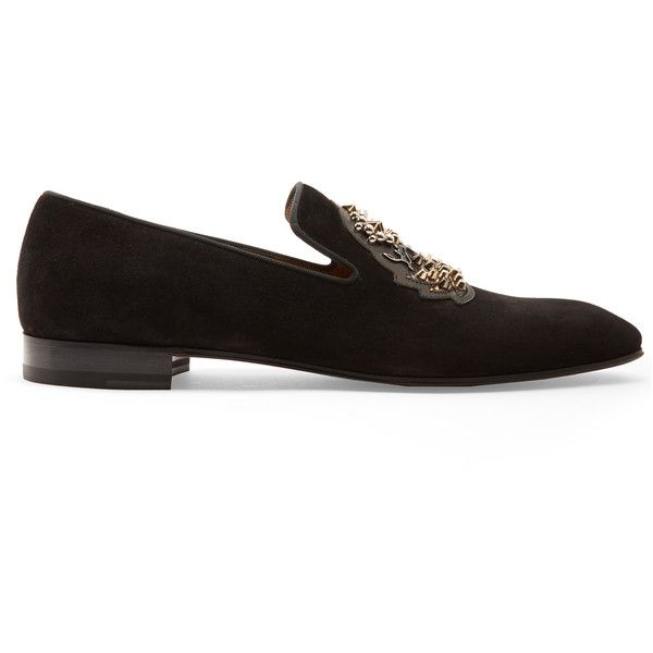 Christian Louboutin Ecupump logo-crest suede loafers ($1,245) ❤ liked on Polyvore featuring men's fashion, men's shoes, men's loafers, shoes, black, mens black suede shoes, mens black loafers shoes, mens black shoes, suede loafers mens shoes and mens suede shoes