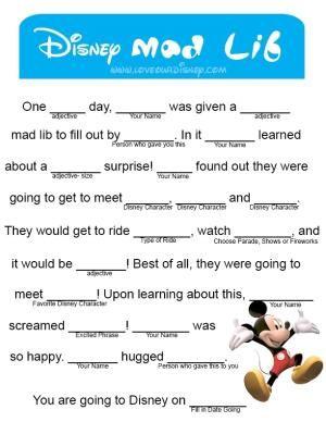 Love Our Disney: Announce Disney Trip- Mad Lib Free Printable by ddarragh9
