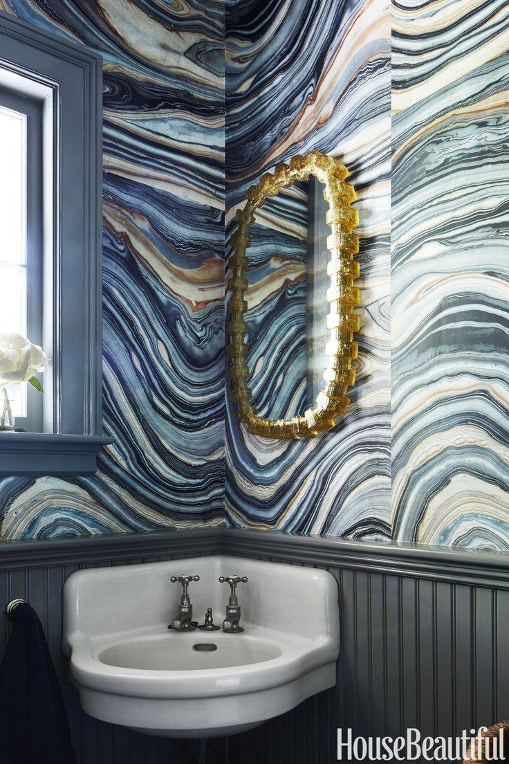 Could put our vintage sink in the new bath + corner cut shelves attached underneath for storage.  Love the idea of finding cool wallpaper.  Agate Walls