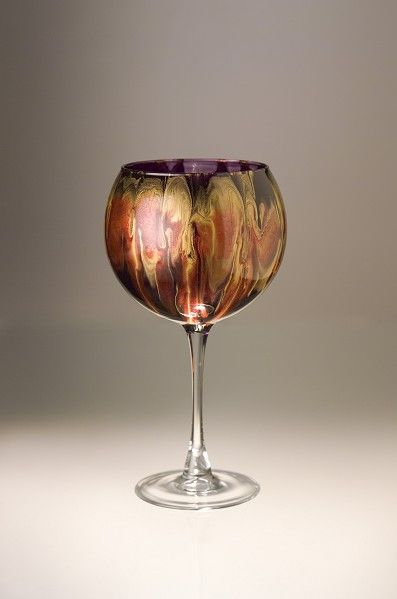 """Red Wine Goblet"" kiln-fired glass"